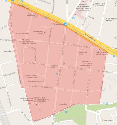Mappa divieto alcol alla Marranella